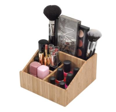 MobileVision Bamboo Makeup Organizer