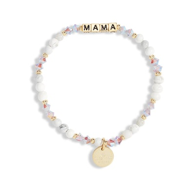Little Words Project Mama Beaded Stretch Bracelet in Creampuff/Gold