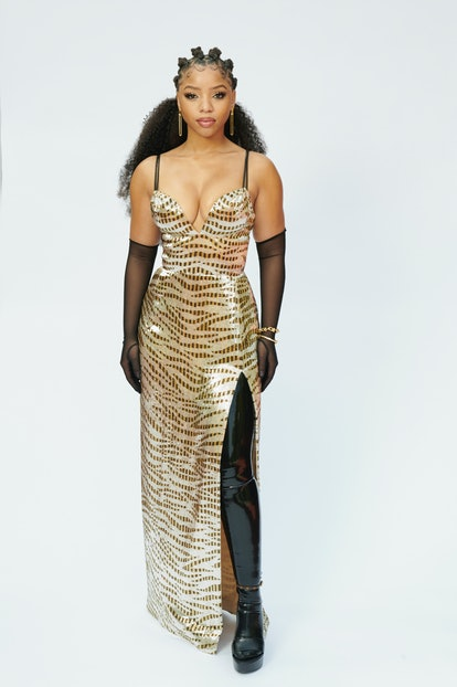 Chloe Bailey wearing Louis Vuitton to the 2021 Grammys.