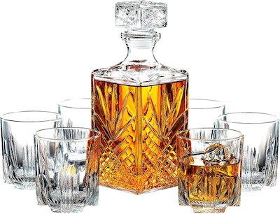 Paksh Novelty Italian-Crafted Glass Decanter & Whisky Glasses Set (7 pieces)