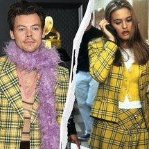 "Harry Styles' Grammys 2021 plaid suit is straight out of ""Clueless."""