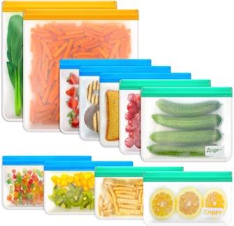Anpro Dishwasher Safe Reusable Food Storage Bags (11-Pack)