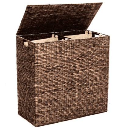 Natural Woven Water Hyacinth Double Laundry Hamper Basket