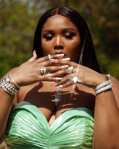 Lizzo red carpet 2021 Grammy nails
