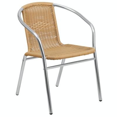 Aluminum and Rattan  Indoor-Outdoor Stack Chair