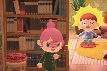 Two Animal Crossing characters are seen on the screen. One character, a boy, looks surprised after the other character, a girl, put a whoopee cushion under him.