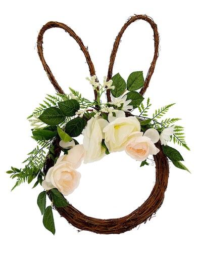"20"" Spring Floral Bunny Head Wreath"