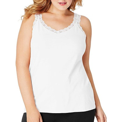 Just My Size Stretch-Jersey Lace-Trimmed Tank