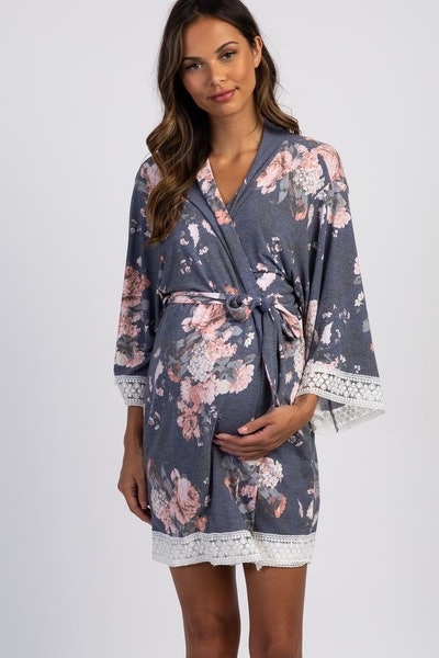 PinkBlush Navy Floral Lace Trim Maternity Robe