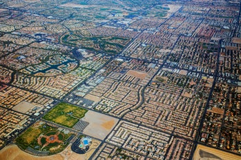 The view of Las Vegas from an airplane