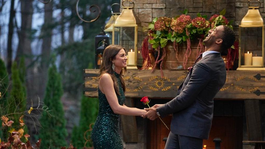 "Matt James and Rachael Kirkconnell on Season 25 of ""The Bachelor."""