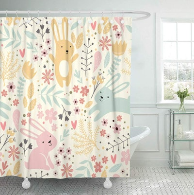 Vintage Spring Pattern Rabbits & Plants Easter Shower Curtain