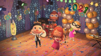 A group of four Animal Crossing characters are seen in a colorful room, presumably a hall for students, as they celebrate prom. There are multiple balloons and some of the characters have eye masks on as they dance to music. The characters are wearing suits and dresses.