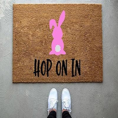 Hop On In Easter Doormat