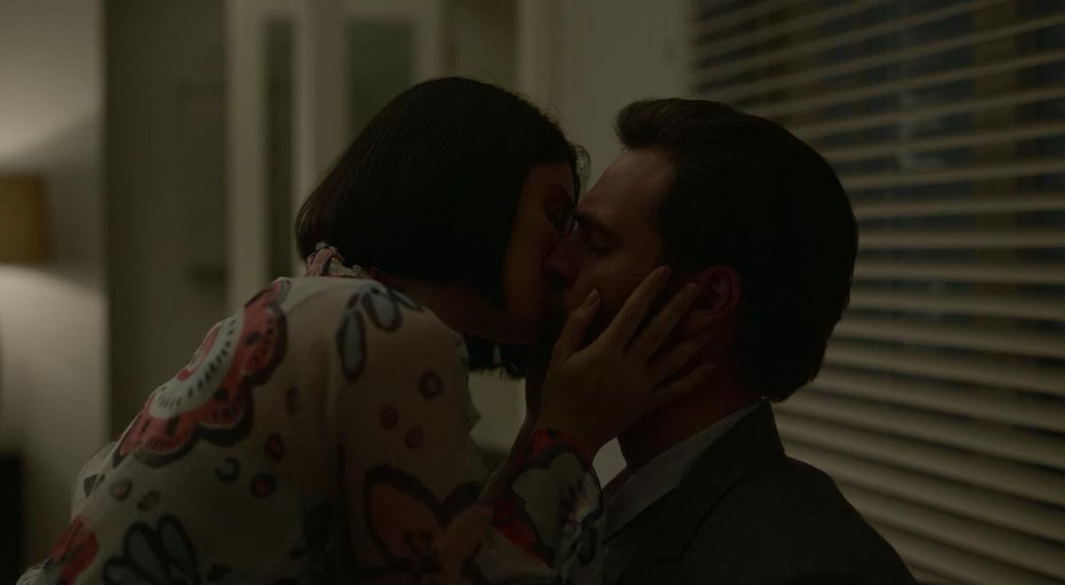 Tom Bateman as David Ferguson and Eve Hewson as Adele Ferguson hooking up in Episode 1 of Netflix's ...
