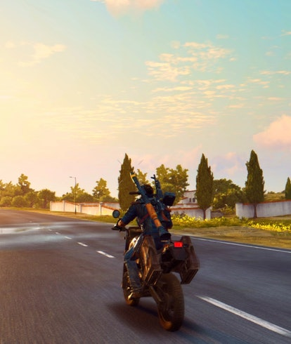 Just Cause 3 motorcycle sunset
