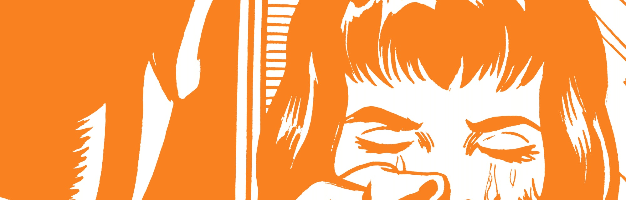 man talking to crying woman illustration