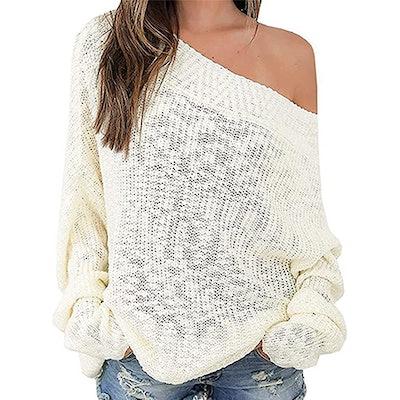 Exlura Oversized Off-The-Shoulder Sweater