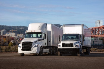 The Freightliner eCascadia and eM2
