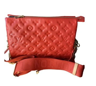 Coussin Leather Crossbody Bag Red