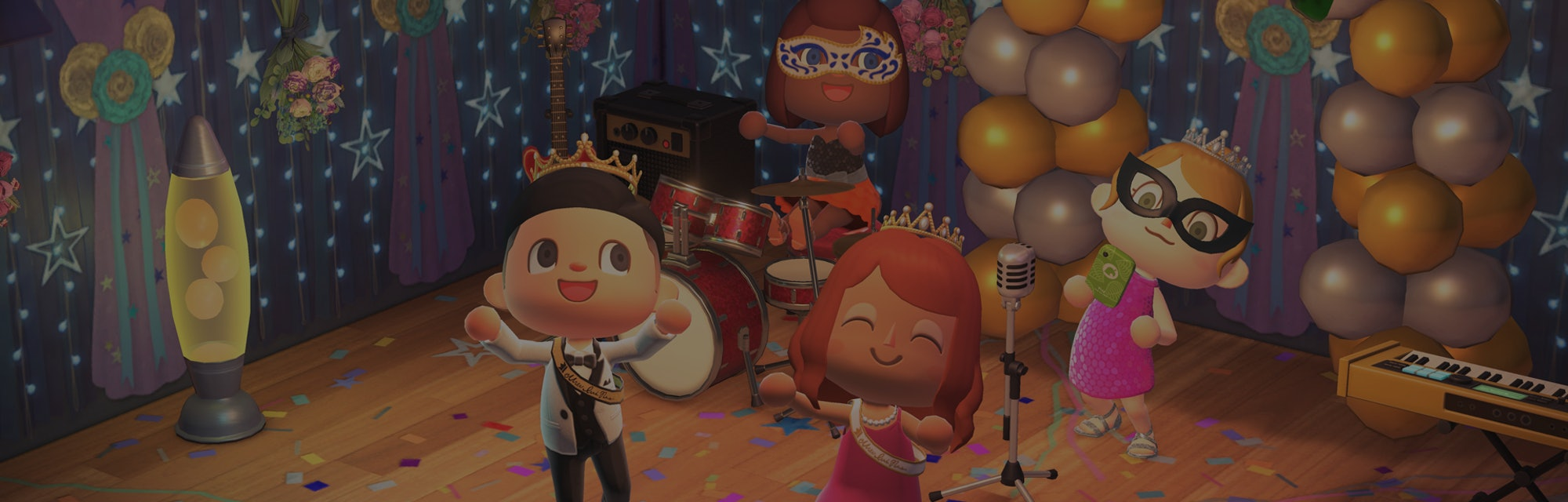A group of Animal Crossing avatars are seen having fun at prom.