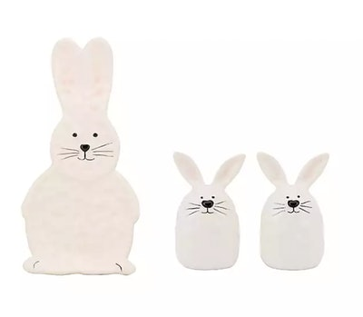 Bunny Salt and Pepper Shakers and Spoon Rest Set