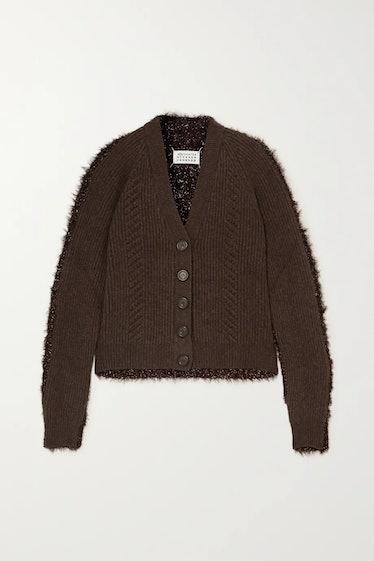 Paneled Ribbed Wool And Tinsel Cardigan