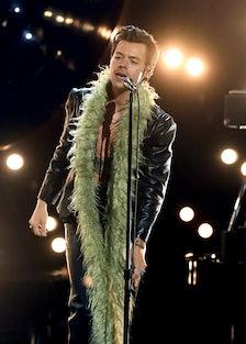Harry Styles in green boa.