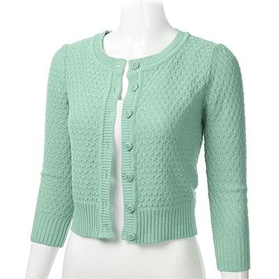 FLORIA Three-Quarter Sleeve Cropped Cardigan