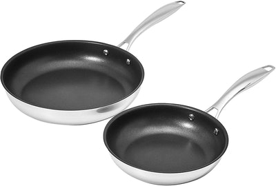 Amazon Basics Non-Stick Stainless Steel Fry Pan Set (2 Pieces) (10 Inch and 8 Inch)