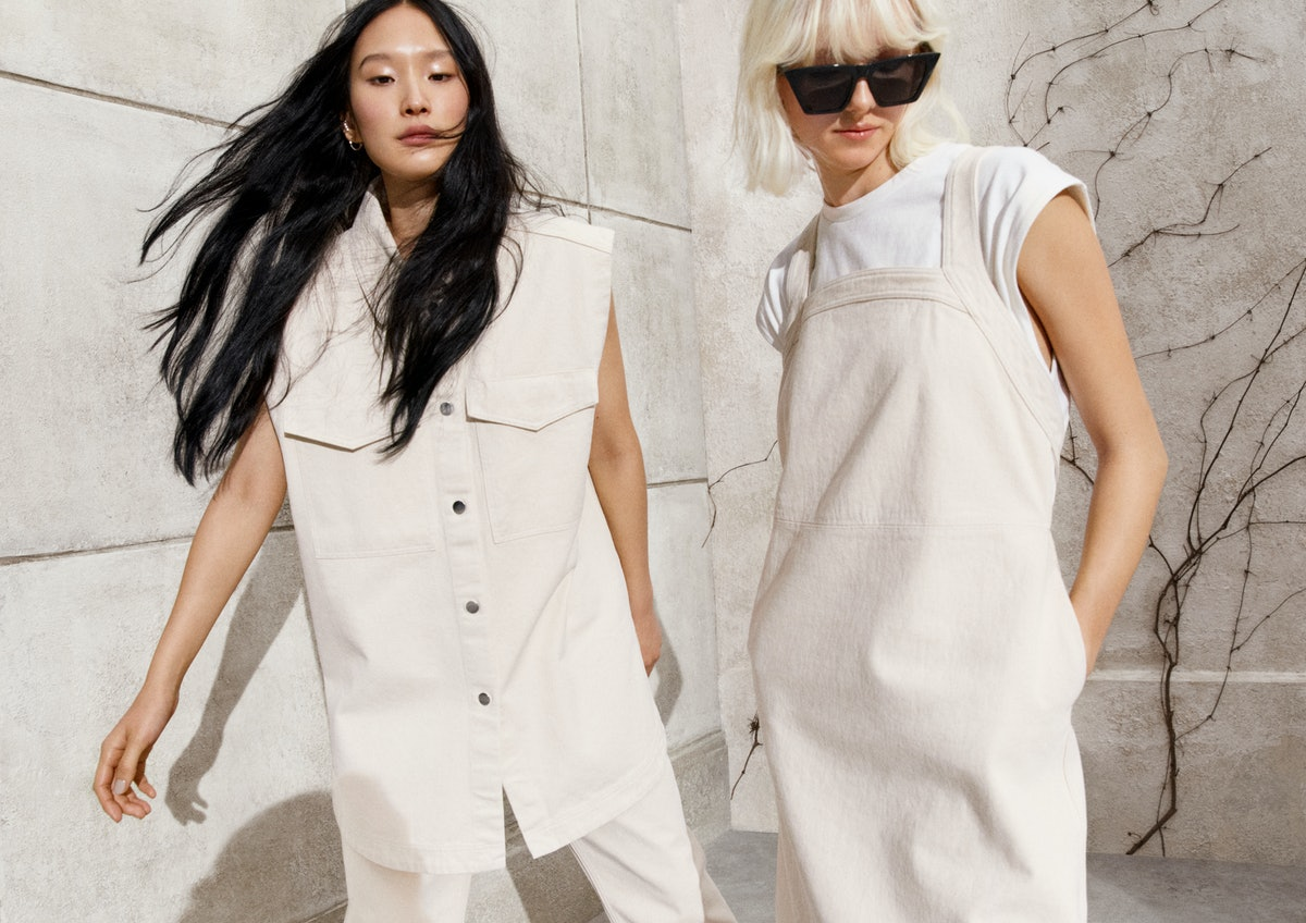 H&M's spring 2021 collection modeled by two women.
