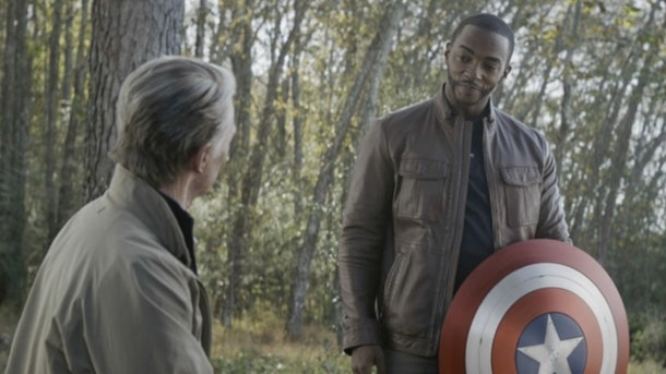 Anthony Mackie and Chris Evans as Sam Wilson/Falcon and Steve Rogers/Captain America in Avengers: Endgame