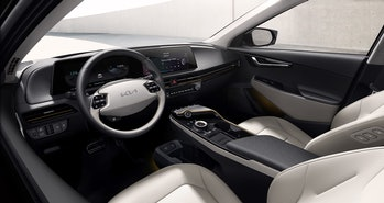 Interior view of Kia's newly unveiled EV6 electric car.