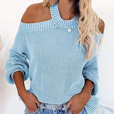 HOTAPEI Long Sleeve Cold Shoulder Halter Neck Sweater