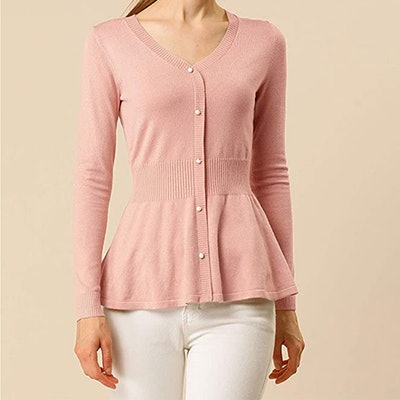 Allegra K Peplum Faux Button-Down Sweater