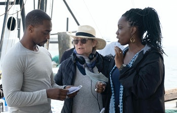 Kari Skogland directing Anthony Mackie and Adepero Oduye on the set of The Falcon and the Winter Soldier