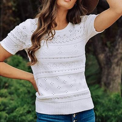 Foshow Pointelle Sweater
