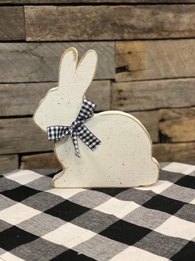 Medium White Sitting Bunny