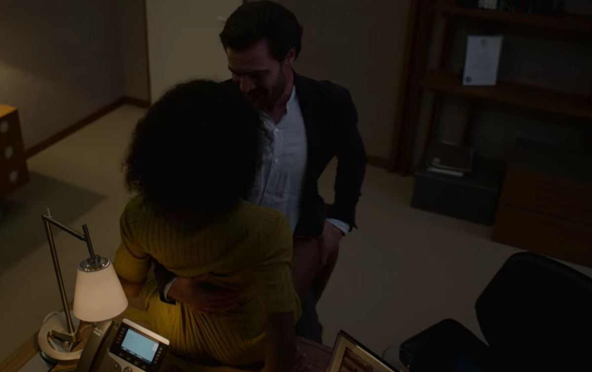 Tom Bateman as David Ferguson and Simona Brown as Louise Barnsley hooking up on a desk in Episode 3 ...