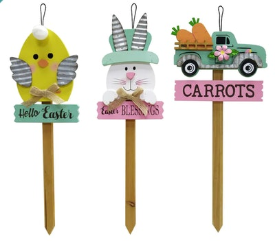 "Assorted 13"" Whimsical Woodlands Easter Yard Stake"