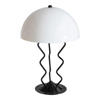 Late 20th Century Memphis Style Metal Squiggle Table Lamp With Acrylic Dome Shade