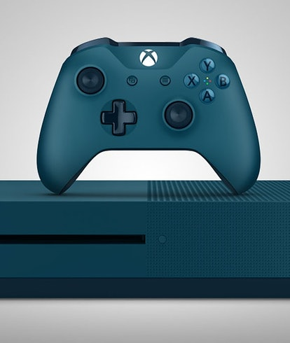 deep blue color xbox one controller and console