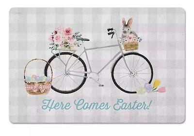 Here Comes Easter Bike Indoor Floor Mat