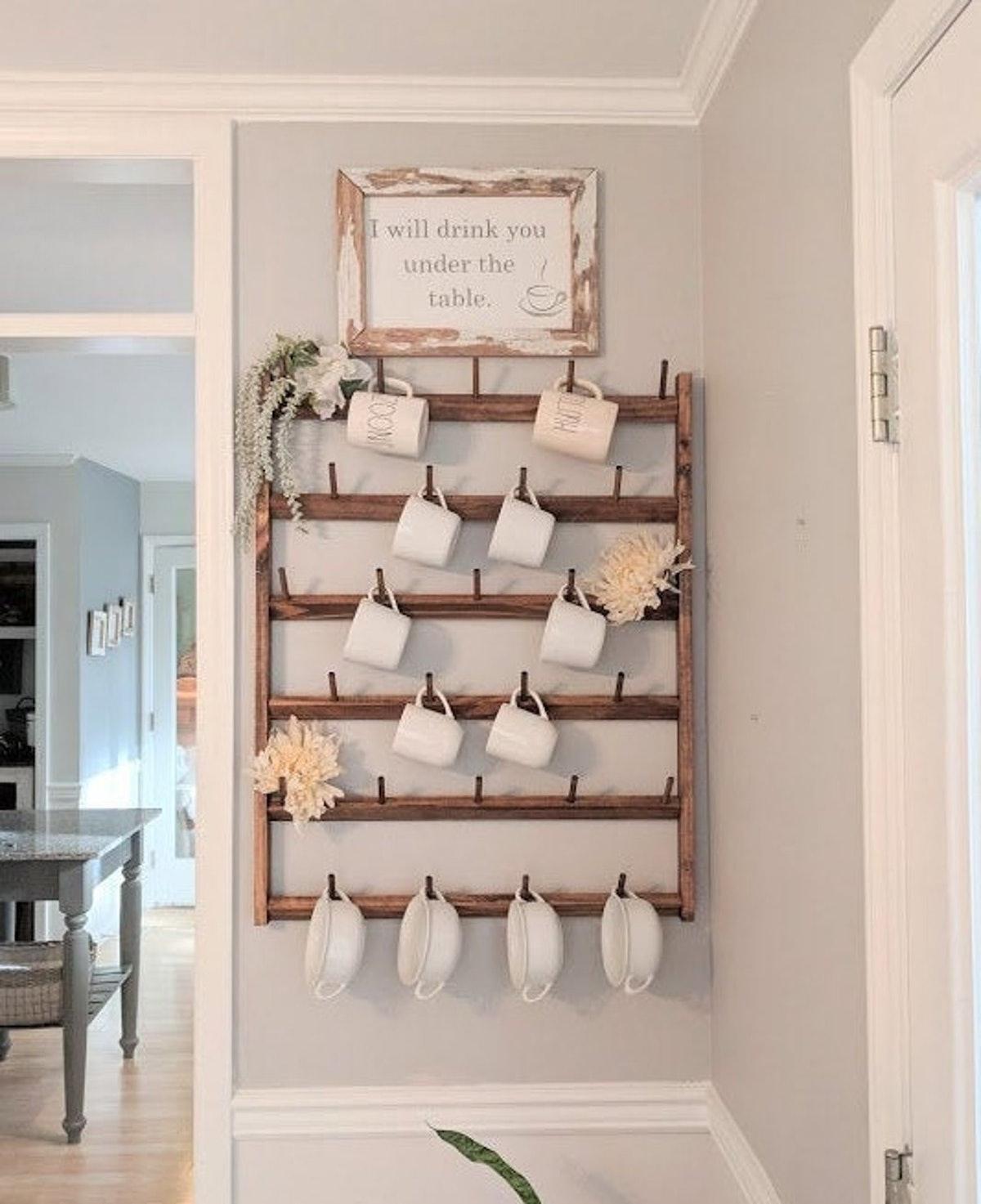 Wood Mug Rack Display