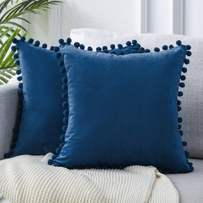 Top Finel Decorative Throw Pillow Covers with Pom Poms (Set of 2)