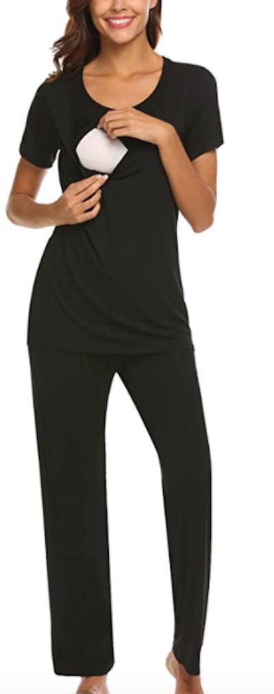MAXMODA Cotton Nursing/Labor/Delivery Maternity Pajamas
