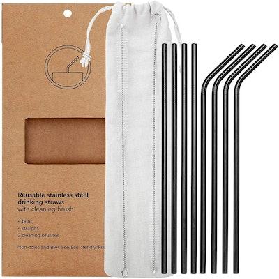 YIHONG Reusable Stainless Steel Metal Straws (8-Pack)