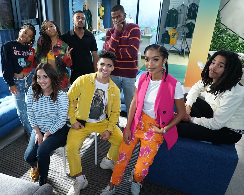 'grown-ish' cast members Halle Bailey, Chloe Bailey, Francia Raisa, Diggy Simmons, Trevor Jackson, Jordan Buhat, Yara Shahidi, and Luka Sabbat via Freeform's press site