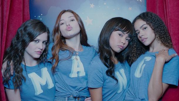 Sara Waisglass as Max, Katie Douglas as Abby, Chelsea Clark as Norah, and Antonia Gentry as Ginny in 'Ginny & Georgia.'