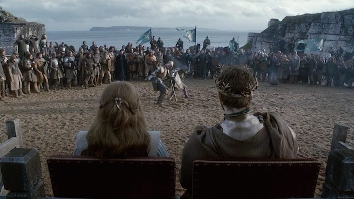 Gethin Anthony as Renly Baratheon and Natalie Dormer as Margaery Tyrell in the Stormlands in Game of Thrones